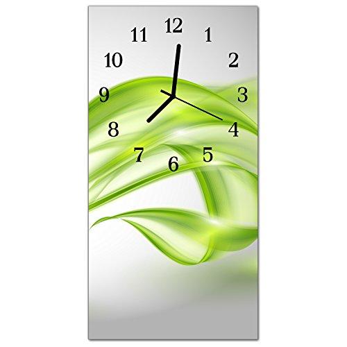 DekoGlas Glasuhr \'Abstrakte Linien Grün\' Uhr aus Echtglas, eckig große Motiv Wanduhr 30x60 cm, lautlos für Wohnzimmer & Küche