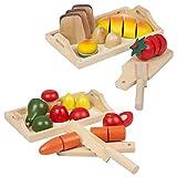 URBN Toys Großes Set aus Obst- und Gemüse- oder Brot und Brötchen aus Holz in Tabletts als Spielzeug zum Schneiden von Lebensmitteln (Obst, Gemüse und Backwaren)