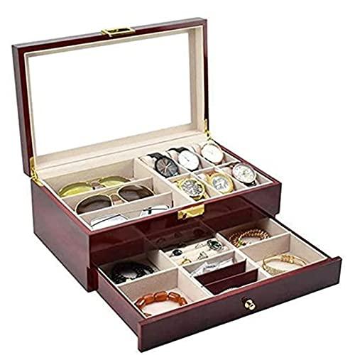 KMDJ Relojes Box Watch Box Watch Jewelry Gafas Pantalla Caja de Almacenamiento Pintura Aerosol de Doble Capa 6 Caja de Reloj Caja de joyería y 3 Piezas Gafas de Almacenamiento