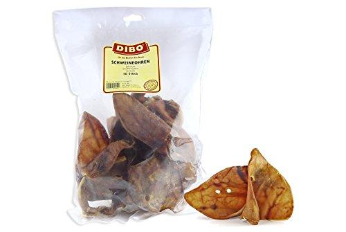 DIBO Schweineohren, 10 Stück im Beutel, Naturkau-Snack oder Leckerli für Zwischendurch, Hundefutter, Qualitätskauartikel ohne Chemie von DIBO
