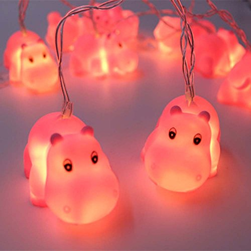 Cirkooh 4.9 Ft / 1.5 M 10 Lights Battery Powered Cute Animal Pink Hippo Shape LED String Lights for Indoor/Outdoor Halloween Christmas Thanksgiving Home Party Children Kids Bedroom Decoration