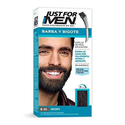 Just For Men Tinte Colorante en Gel para Barba y Bigote, Cubre las Canas, Color Negro (B-55), 28.4 g