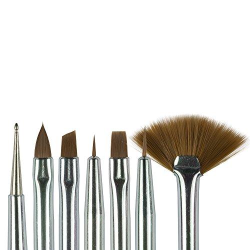 N&BF Profi Gel Pinsel Weiß/Pink 7er Set   Nagel Studio Pinsel Rotmarder Haar   Nailart Pinsel für Nageldesign   Kolinsky Brush Acryl & Gel Modellagen   Premium Echthaar-Pinsel