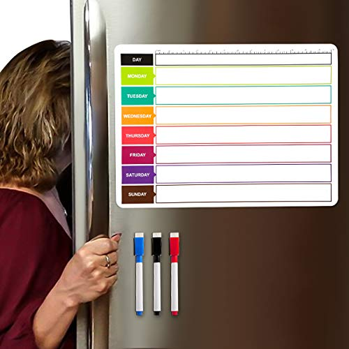 Magnetic Calendar for Refrigerator,Planning Boards Dry Erase Fridge Planning Boards Whiteboard with Monthly Planner - 3 Fine Tip Markers and Cute Smiley Eraser with Magnets-Kitchen White Board Planner
