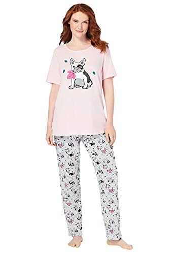 Dreams & Co. Women's Plus Size Graphic Tee Pj Set Pajamas - 3X, Heather Grey French Bull Dog Gray