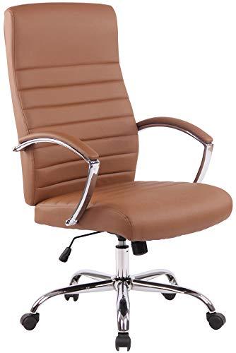 CLP Poltrona Ufficio Valais XL In Similpelle I Sedia Ufficio Girevole Imbottita Con Alto Schienale, Colore:marrone chiaro