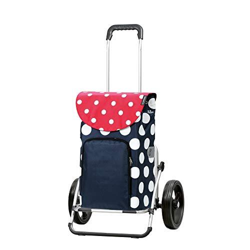 Andersen Einkaufstrolley Royal XXL klappbar mit 3-Speichenrad 25 cm und 41 Liter Einkaufstasche Dots mit Kühlfach blau/rot//weiß