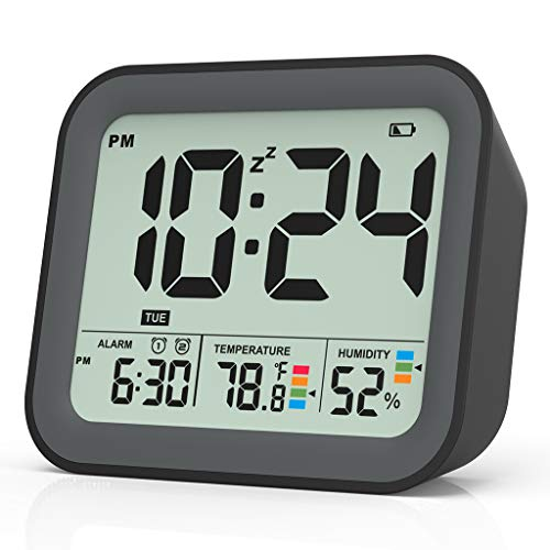 Digital Alarm Clock for Bedroom, Dual Alarm Clock with Workdays/Weekends Setting,Battery Operated, Snooze, Small Travel Clock with Indoor Thermometer/Hygrometer, Dimmable LED Backlight, Handheld Size