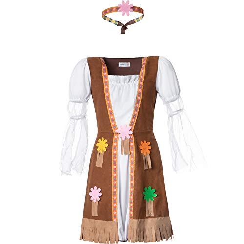 dressforfun 900515 - Mädchenkostüm Groovy Hippie Squaw, Kleid mit angenähter Weste in Wildlederoptik, inkl. Stirnband (158 | Nr. 302577)