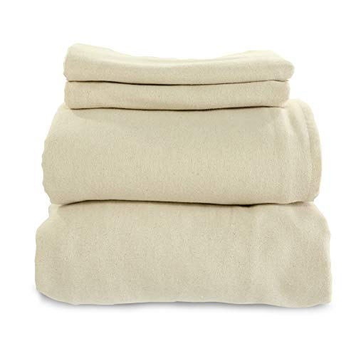 Whisper Organics, Organic Bed Sheets - 4-Pc Flannel Sheet Set - 100% Organic Cotton Flat Sheet + Fitted Sheet + Pillowcases - 170 Gram GOTS Certified Sheets, Natural (Full)