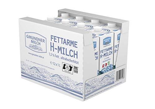 GMUNDNER MILCH Fettarme Haltbarmilch mit 1,5% Fett | inkl. Salzkammergut-Kochbuch | 3 Monate ungekühlt haltbar, 12 x 1 L | Lebensmittel aus Österreich