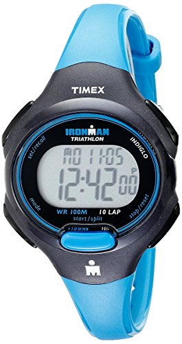 Timex Women's T5K526 Ironman Essential 10 Mid-Size Blue/Black Resin Strap Watch