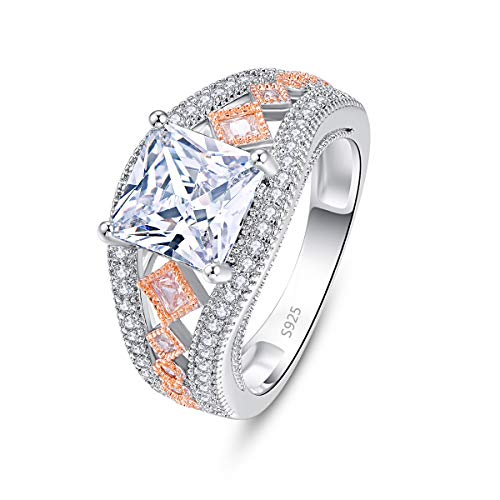 Emsione Women's 925 Silver Plated Princess Cut Created White Topaz Eternity Celtic Band Ring Cocktails Size 6 to 9