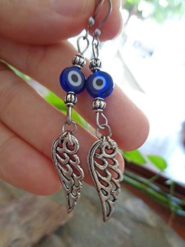 ✿ EVIL EYE Y ALAS DE ÁNGEL ✿ grandes pendientes de cristal en ojo mágico azul
