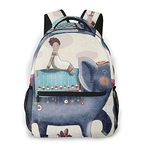 Lawenp People And Elephants Casual Backpack For School Outdoor Travel Big Student Fashion Bag