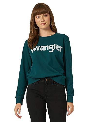 Wrangler Women's Damen Vintage Logo Crew Neck Sweatshirt Hemd, Kiefer, Small