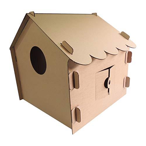 modulec Casita para niños de cartón, para Pintar y Jugar. Incluye Set de Pinturas y brocha.