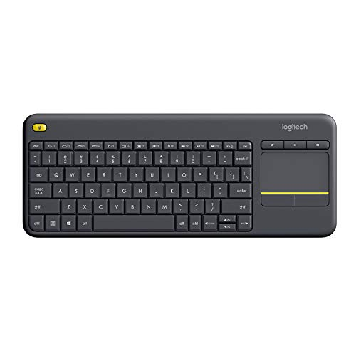 Logitech K400 Plus Teclado Inalámbrico con Touchpad para Televisores Conectados a PC, Teclas Especiales Multi-Media, Windows, Android, Ordenador/Tablet, Disposición AZERTY Francés, color Negro