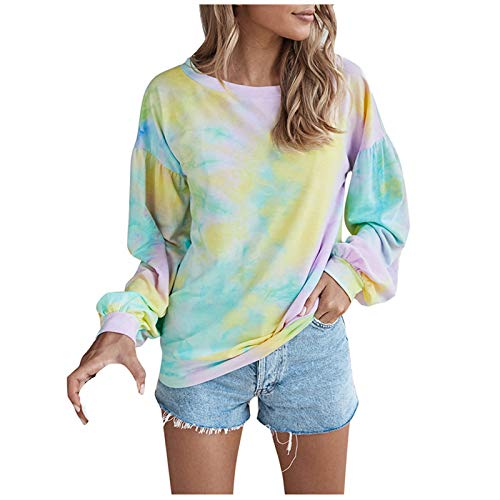 WMNU Hoodies Women Tie-dye Print Sweatshirt Long Sleeve Pullover Clothes O-Neck Casual Loose Drawstring Women Clothes Hoodies Yellow