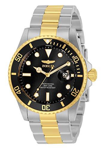 Invicta Reloj de cuarzo para hombre Pro Diver con correa de acero inoxidable, plata, oro, 22 (modelo: 33269)
