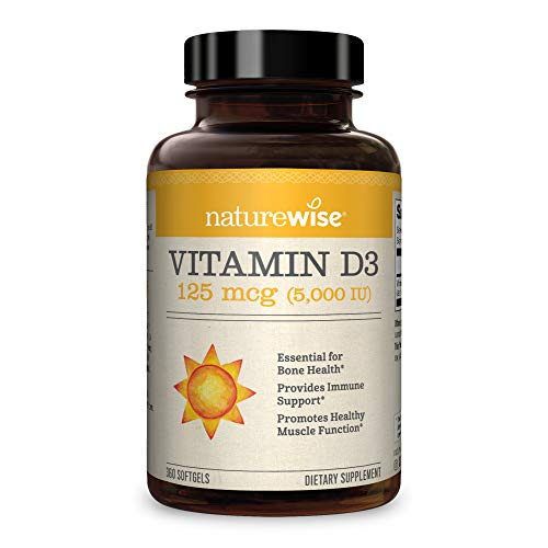 NatureWise Vitamin D3 5000iu (125 mcg) 1 Year Supply for Healthy Muscle Function, Bone Health and Immune Support, Non-GMO, Gluten Free in Cold-Pressed Olive Oil, Packaging May Vary (360 Mini Softgels) by NatureWise