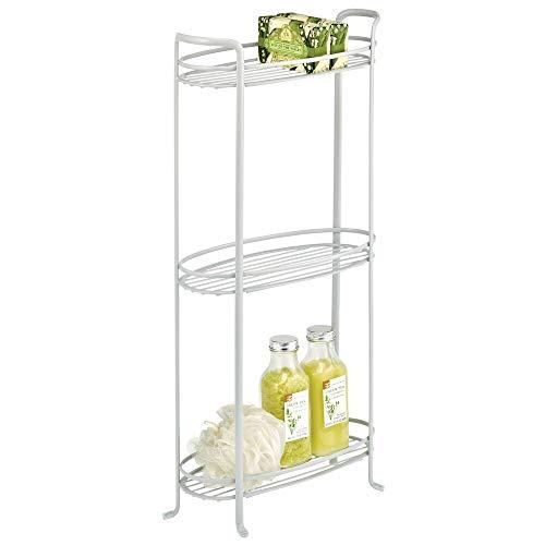 mDesign - Estantería vertical de 3 niveles para baño, organizador de metal decorativo con 3 cestas para sostener y organizar toallas de baño, jabón de manos, artículos de tocador, color gris claro
