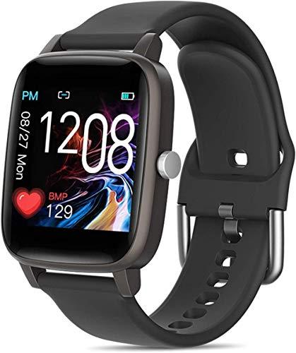 Reloj inteligente Smartwatch Fitness Trackers con monitor de ritmo cardíaco impermeable IP68 reloj podómetro cronómetro reloj inteligente para hombres y mujeres-negro