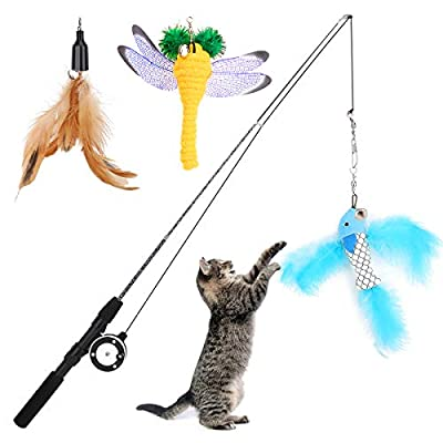 VavoPaw Cat Teaser Play Wand, Retractable Cat Feather Teaser Telescopic Rod, Funny Cat Kitty Kitten Animal Play Wand Toys with Feather, Dragonfly, Flyfish-Like Shaped Baits and Bells, Colorful