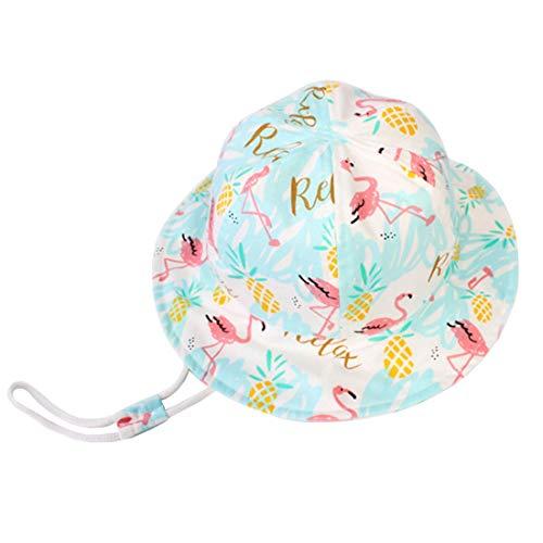 YONKINY Kinder Sonnenhut Sommer Unisex Baby UV-Schutz Sommerhut Baumwolle Atmungsaktiv Schirmmütze Bucket hat Fisherhut mit Kordelzug (Größe 54 für 7-14Jahre)