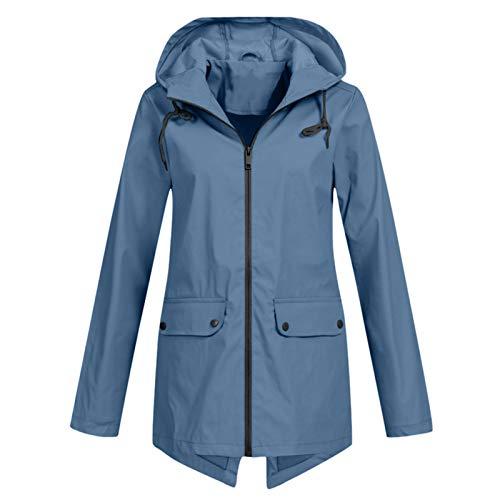 Lomelomme Regenmantel Damen Lang Regenjacke Sport Langarm Outdoor Plus Size Solide Regenjacken Mantel mit Kapuze Regenparka Funktionsjacke Outdoorjacken