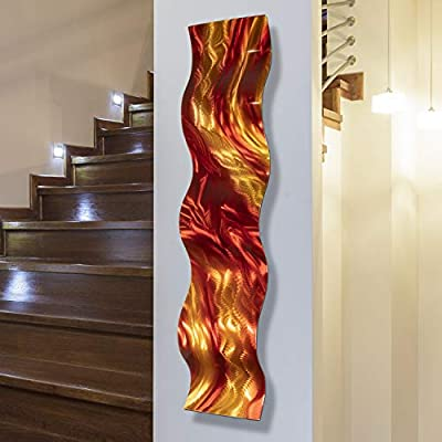 "Statements2000 Abstract Red Earth-Toned Hand-Crafted Metal Wall Accent Sculpture - Modern Contemporary Home Office Decor Art Painting - Harvest Moods Wave by Jon Allen - 46"" x 10"" from Statements2000"