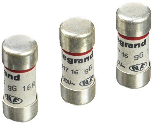 Legrand 092902 Cartouches Fusibles pour Porte-Fusibles avec Témoin, 10.3mm x 25.8mm, 16A, Gris