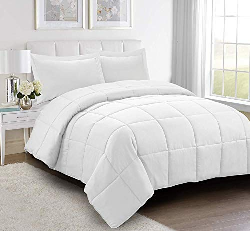 HIG 3pc Down Alternative Comforter Set - All Season Reversible Comforter with Two Shams - Quilted Duvet Insert with Corner Tabs -Box Stitched -Hypoallergenic, Soft, Fluffy (King/Cal King, Pure White)