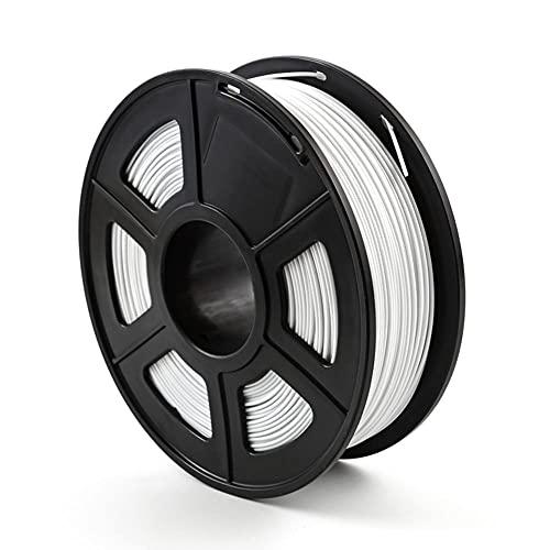 Filamento PETG Filamento 3D Filamento, precisión +/- 0.03mm, carrete de 1 kg, 1.75 mm, blanco, resistente a alta temperatura, contacto de grado alimenticio