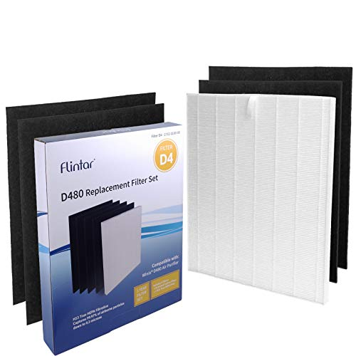 Flintar D480 H13 True HEPA Replacement Filter D4, Compatible with Winix D480 Air Purifier, H13 Grade True HEPA and 4 Activated Carbon Filters, Item Number 1712-0100-00, Filter D4