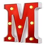 Yuna Letras luminosas LED decorativas de LED, letras del alfabeto blanco (M (rojo)