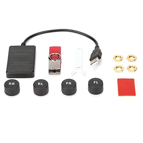 Wdszb Sistema de monitorización de presión de neumáticos USB, Monitor Inteligente de Seguridad de neumáticos con 4 sensores externos, Sistema de Alarma de Control de presión de neumáticos para Nav