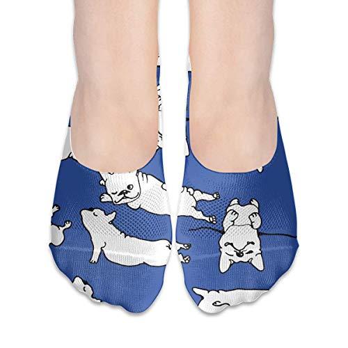 Calcetines Para Mujer Blanco Francia Bulldog Bajo Corte Calcetín Forros Invisible Calcetines