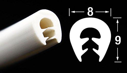 KS-TPE0-2,5W Kantenschutz aus Thermoplast (TPE) von SMI-Kantenschutzprofi - Weiß - Klemmprofil - einfache Montage, selbstklemmend ohne Kleber – Klemmbereich 0,5-2,5 mm (1 m)
