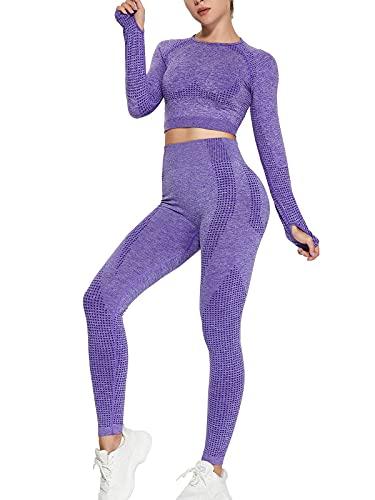 Love2Mi Conjunto de 2 pantalones deportivos para mujer, sin costuras, para yoga, deporte, morado, S