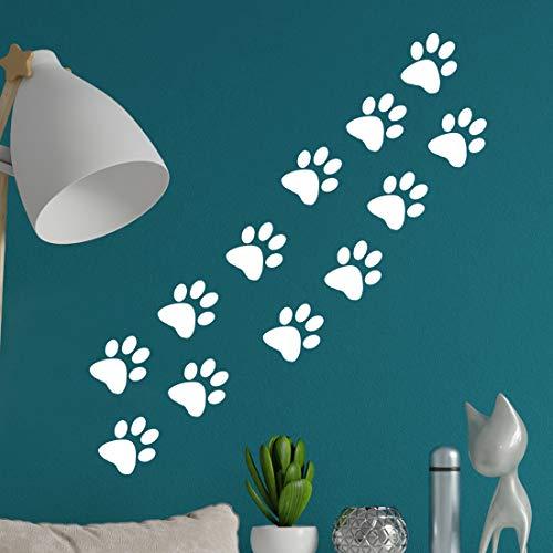Calcomanías de pata de gato con impresión de perro adhesivo de pared para ventana de vinilo de la patrulla de la cocina bolsa de papel impresiones negras de papel pintado calcomanías de huella