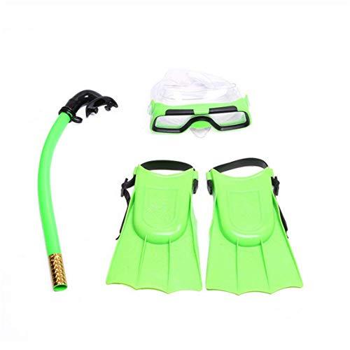 Molinter Kinder Schnorchel Set Tauchmaske Taucherbrille mit Schnorchel Silikon-Flossen Für Jungen Mädchen Junior Schnorchelausrüstung (Grün, Flossen Size:30-35)