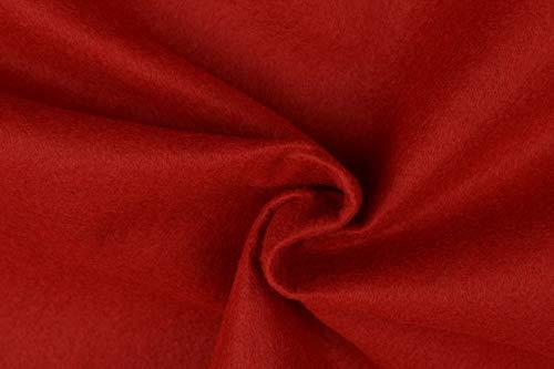 Filz Bastelfilz Meterware, 2 mm, 90 cm breit, Waschbar, 0,25 m, Polyesterfilz Waschbar (Rot)