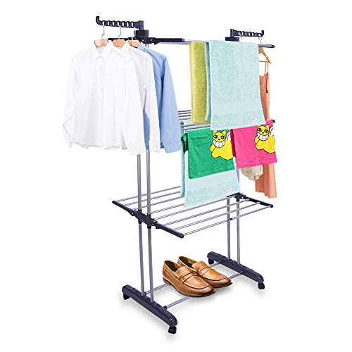 Ejoyous Torre plegable para tendedero con barras de planchado, torre de ropa y perchero 2 en 1, barra plegable con 4 ruedas