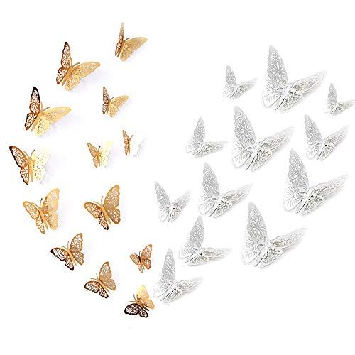 Limeow vlinder 3D slagvaste kunststof vlinder sticker vlinder stereo stickers muurstickers voor kinderen slaapkamer woonkamer party verjaardag decoratie 2 stuks