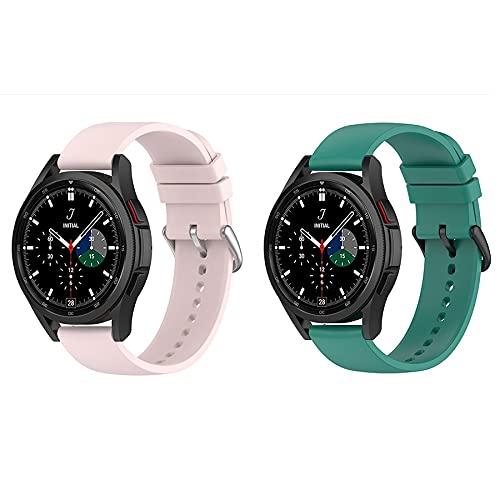 BoLuo 20mm Correa para Galaxy Watch 4 40MM,2 Pcs Correas Reloj,Bandas Correa Repuesto,Silicona Reloj Brazalete Correa Repuesto para Galaxy Watch 4 Classic 42MM/Forerunner 158/ 55 (rosa verde)
