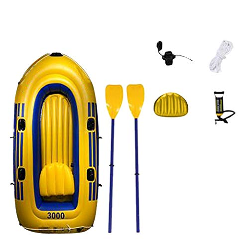 BABYLONG Inflatable Kayak, Inflatable Boat Set, 2 Person/3 Person PVC Inflatable Rafting Fishing Tender Pontoon Boat with Rafting Rubber Boat for Water Sports Fun Casual Surfing (Yellow, 96x180cm)