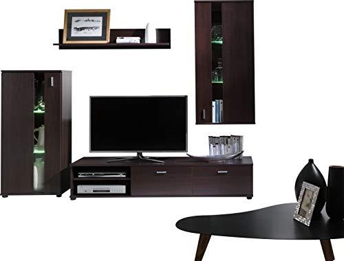 TV Wohnwand, TV-Tisch Set, Wohnzimmer-Set MIRA Große TV-Bank, freistehend, Waschbeckenunterschrank, wandhängend Regal und Hängeschrank. - Milano