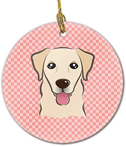 NOT BRANDED Nroyalninty Checkerboard Pink Golden Retriever Ceramic Ornament, 3 in,