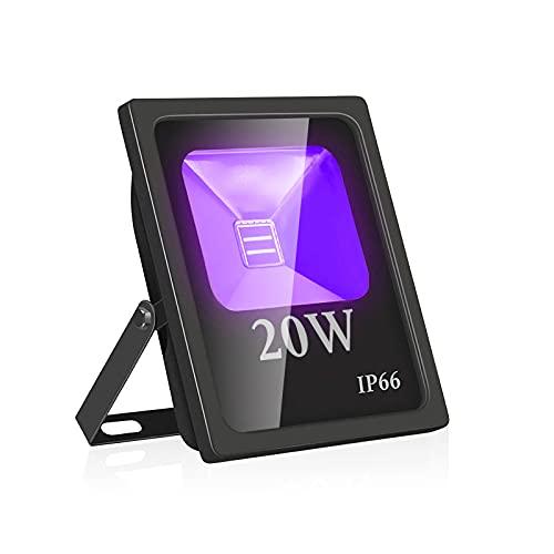 Eleganted Projecteur UV LED 20W, Lumière Noire IP66 Imperméable, Lampe LED Ultra-violet, Eclairage à Effet pour Aquarium, Soirée, Peinture Fluo, affiche fluorescente, Néon, Bar, Fête